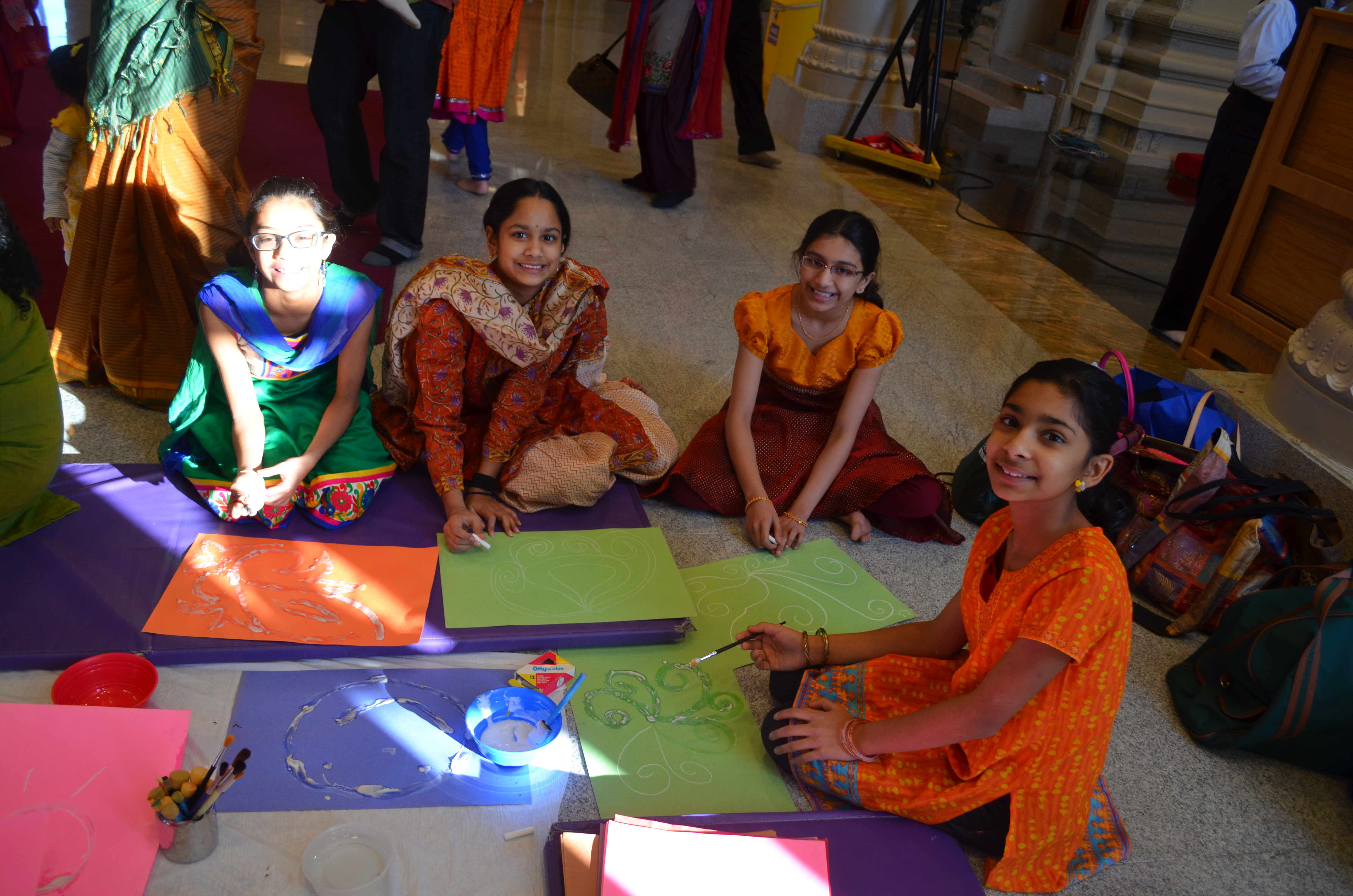 Art making at Saraswati Puja